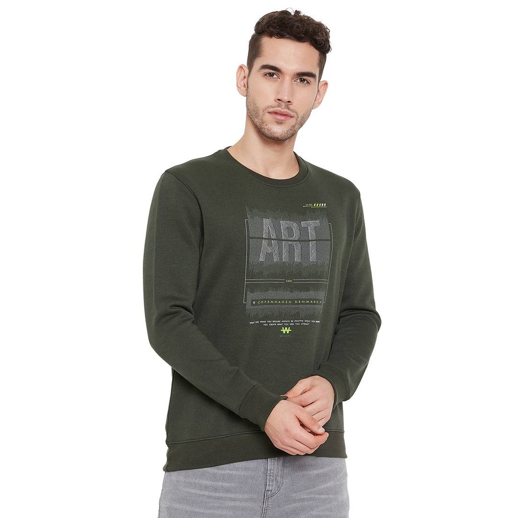 Men's Olive Polycotton Printed Long Sleeves Sweatshirts - Tee-Zoo