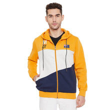 Load image into Gallery viewer, Men's Mustard Cotton Colourblocked Long Sleeves Hoodies - Tee-Zoo