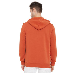 Men's Rust Cotton Colourblocked Long Sleeves Hoodies - Tee-Zoo
