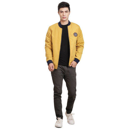 Stylish Yellow Blue Reversible Jacket For Men - Tee-Zoo