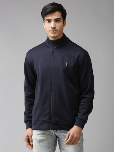Stylish Full Sleeve Navy Blue Bonded Fleece Blend Zipper Jacket For Men - Tee-Zoo