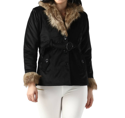 Black Imported Velvet Fur Collar Women Winter Jacket - Tee-Zoo