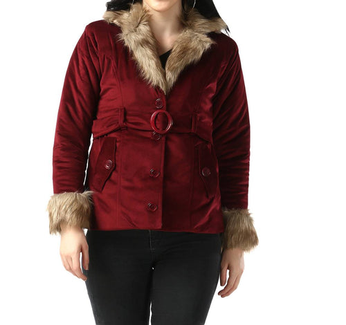 Maroon Imported Velvet Fur Collar Women Winter Jacket - Tee-Zoo
