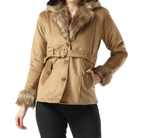 Beige Imported Velvet Fur Collar Women Winter Jacket - Tee-Zoo