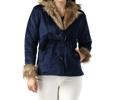 Navy Blue Imported Velvet Fur Collar Women Winter Jacket - Tee-Zoo