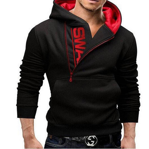Men's Solid Long Sleeves Red Fleece Biker Jacket - Tee-Zoo