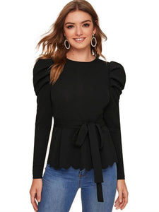 Stylish Black Solid Regular Fit Full Sleeve Top - Tee-Zoo