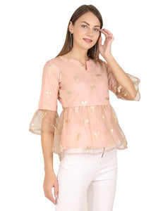 Contemporary Pink Net Printed Tops For Women - Tee-Zoo
