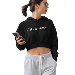 "INDIRAGE ""Friends"" Black Hooded Crop Top - Tee-Zoo"