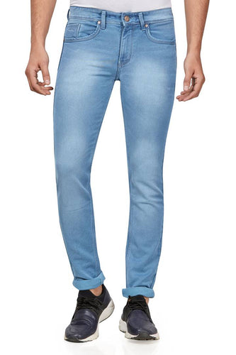 Hasasi Stylish Cotton Stretch Regular Narrow Fit Light Blue Spray Jeans For Men - Tee-Zoo
