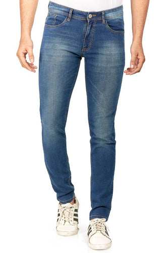 Hasasi Stylish Cotton Stretch Regular Fit Indigo Blue Jeans For Men - Tee-Zoo