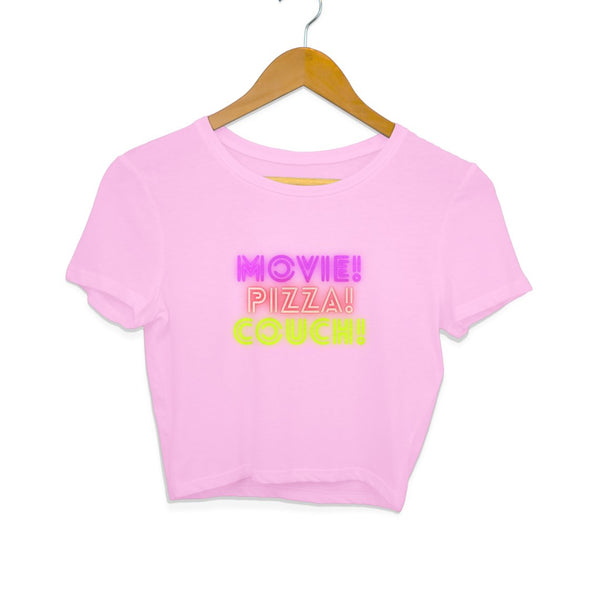 Movie, pizza, couch- Women's Crop Top - Tee-Zoo