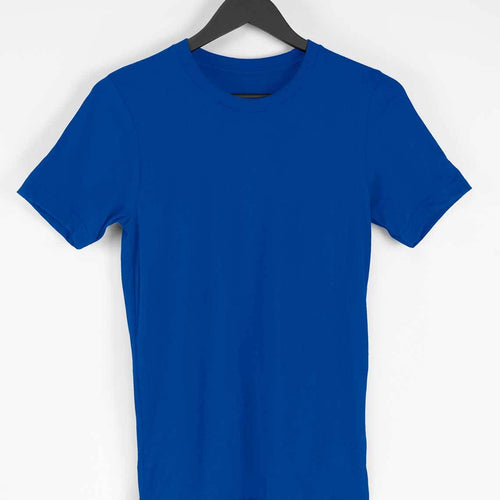 Blue Plain T-shirt - Short- Sleeve-Men's Plain T-shirt - Tee-Zoo
