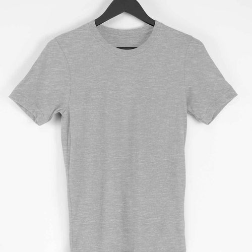 Melange Grey Plain T-shirt - Short- Sleeve-Men's Plain T-shirt - Tee-Zoo