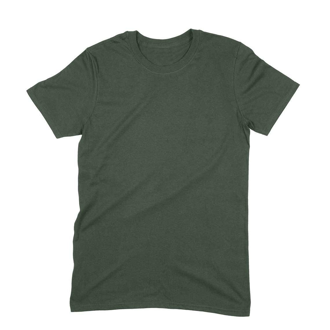 Olive Green Plain T-shirt - Short- Sleeve-Men's Plain T-shirt - Tee-Zoo