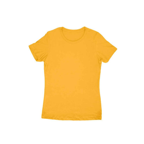 Golden Yellow Plain T-shirt - Short- Sleeve-Women's Plain T-shirt - Tee-Zoo