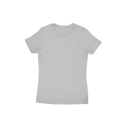 Melange Grey Plain T-shirt  - Short- Sleeve-Women's Plain  T-shirt - Tee-Zoo