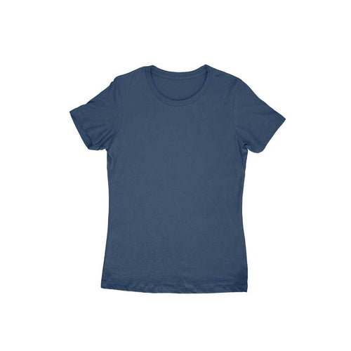 Navy Blue Plain T-shirt - Short- Sleeve-Women's Plain T-shirt - Tee-Zoo