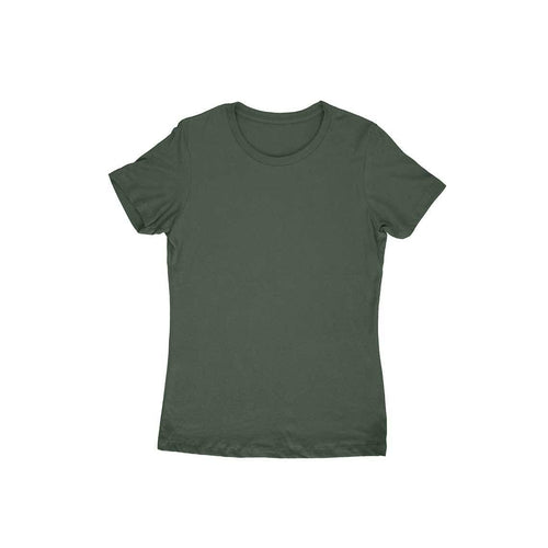 Olive Green Plain T-shirt - Short- Sleeve-Women's Plain T-shirt - Tee-Zoo