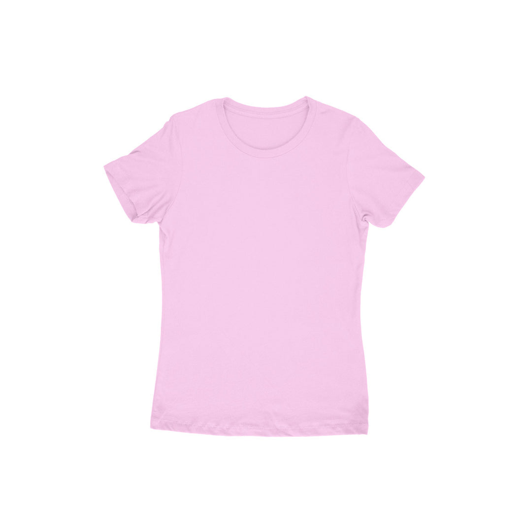 Light Pink Plain - Short- Sleeve-Women's Plain T-shirt - Tee-Zoo