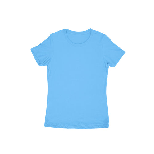 Sky Blue Plain T-shirt - Short- Sleeve-Women's Plain T-shirt - Tee-Zoo