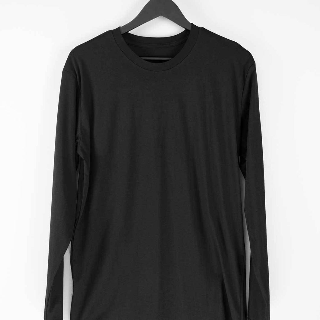 Black Plain T-shirt-Round-Full-Sleeve-Men's Plain T-shirt - Tee-Zoo