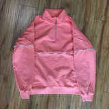 Supreme Crew Logo Piping Quarter Zip Coral S/S 18' Sz M