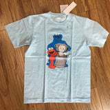 Uniqlo Kaws Cookie Monster/Elmo Trash Tee Light Blue Tee Can Sz M