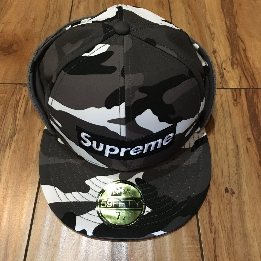Supreme Hat Windstopper Earflap Box Logo Snow Camo F/W 20' Sz 7 1/8