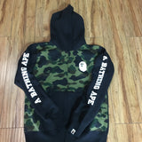 Bape Hoodie A Bathing Ape 1st Camo Happy New Year Black Sz L