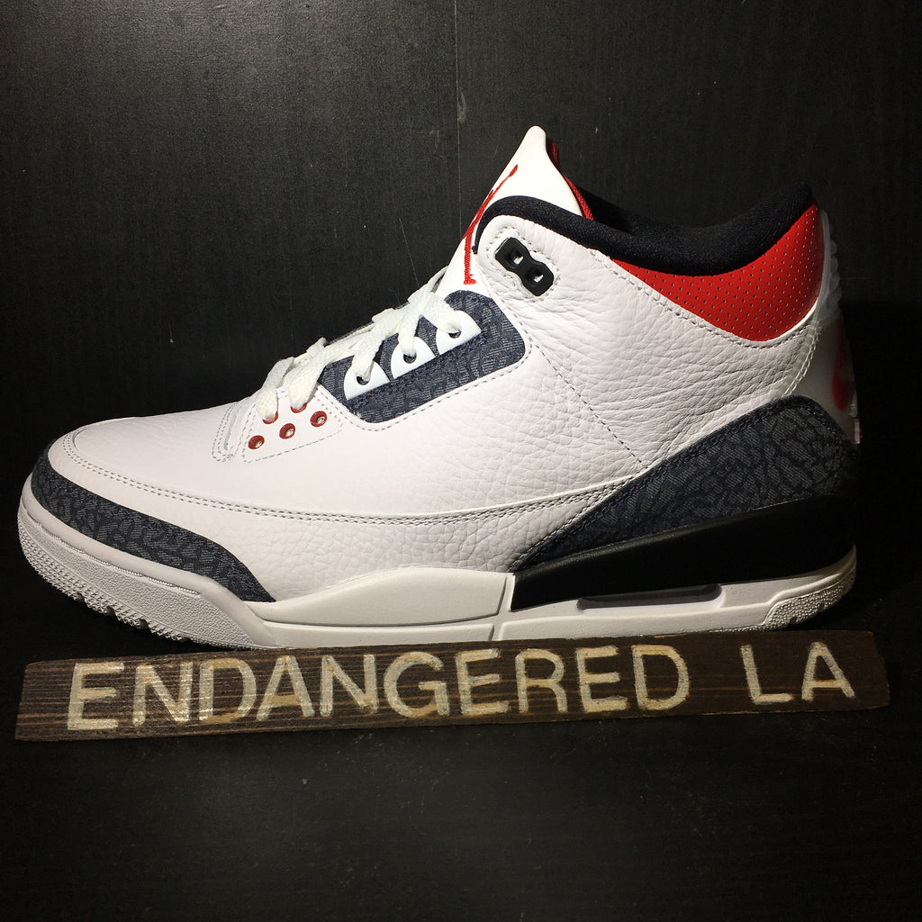 Air Jordan 3 Fire Red Denim Sz 10
