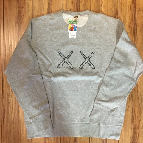 Uniqlo Kaws Crew Neck Double X Grey Sz S