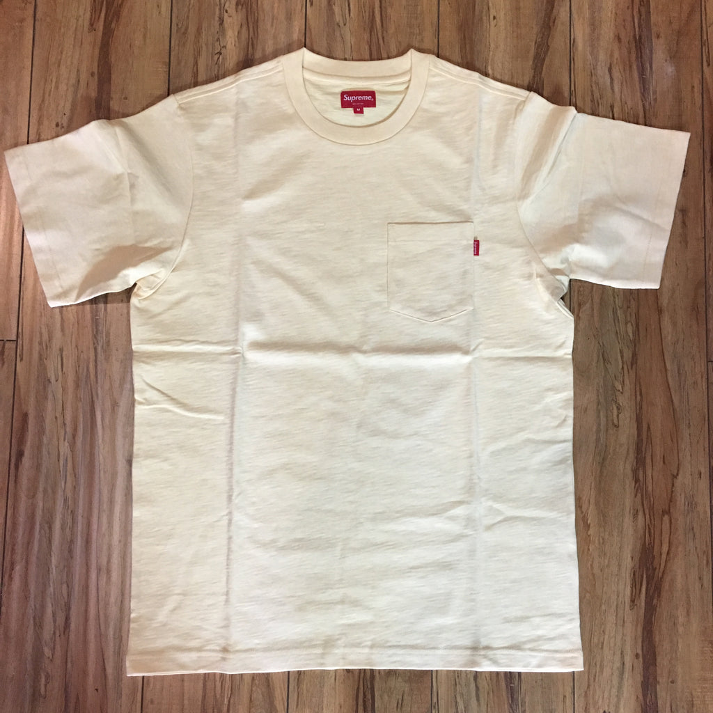 Supreme Pocket Tee Pale Yellow S/S 19' Sz M