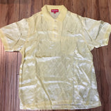 Supreme Jaquard Logo Silk Polo Pale Yellow S/S 18' Sz M