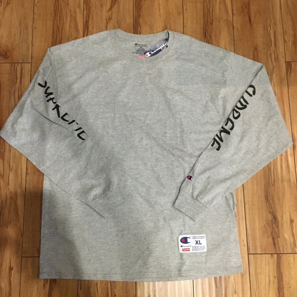 Supreme L/S Champion Tee Grey S/S 16' Sz XL