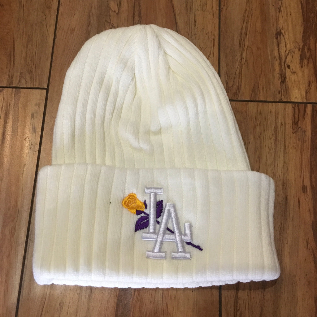 From The Ground Up LA Lakers Beanie White