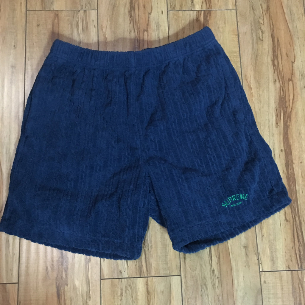 Supreme Shorts Cable Knit Terry Navy S/S 18' Sz S