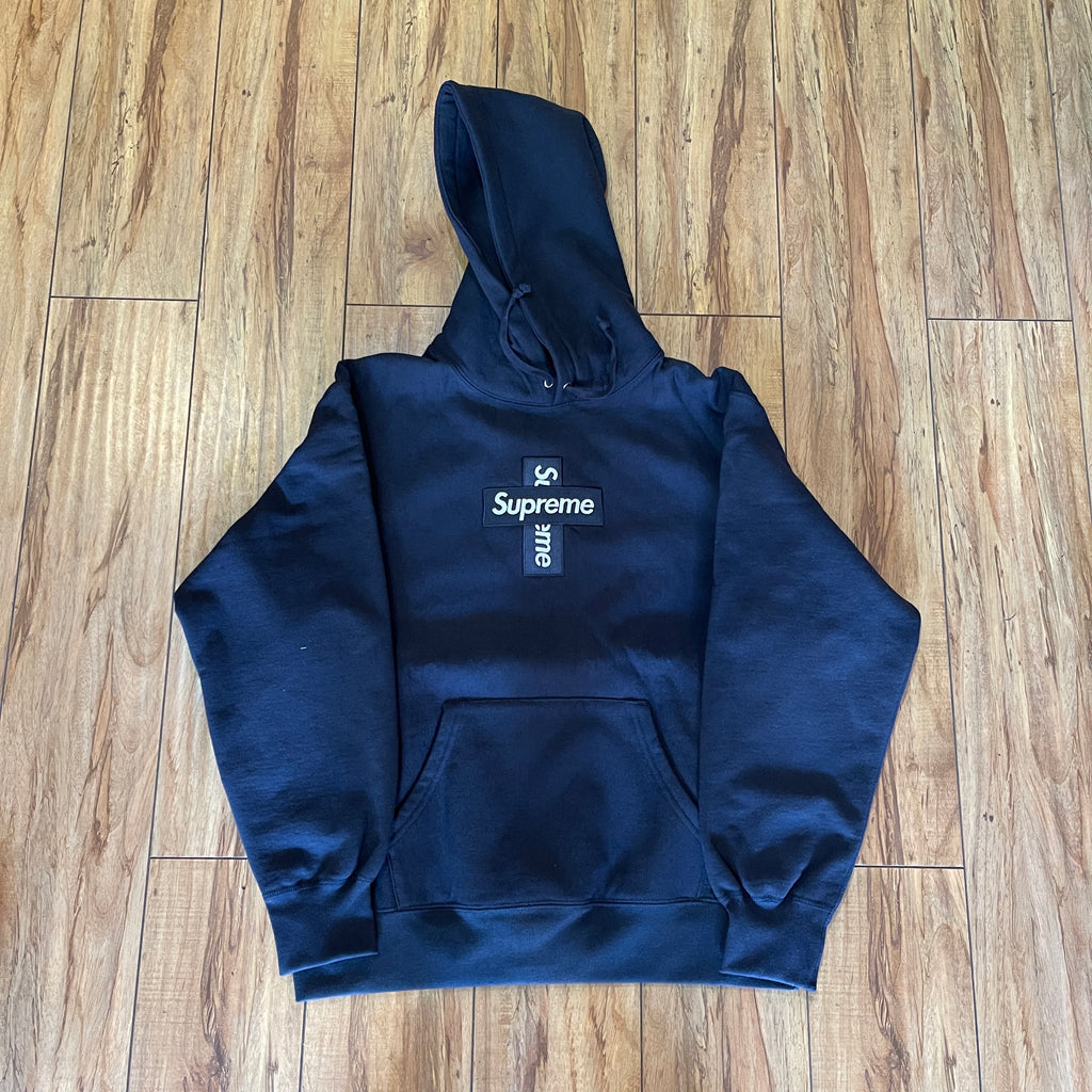 Supreme Hoodie Cross Box Logo Navy F/W 20' Sz M
