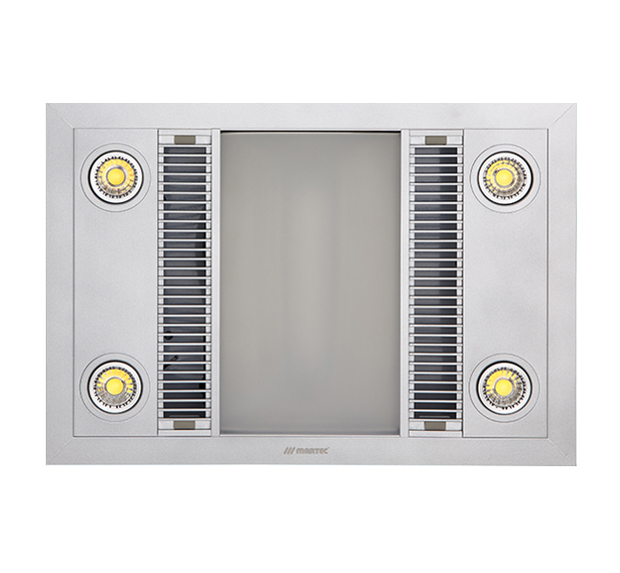 Linear 3 in 1 Bathroom Heater with Exhaust Fan and LED Lights - Silver