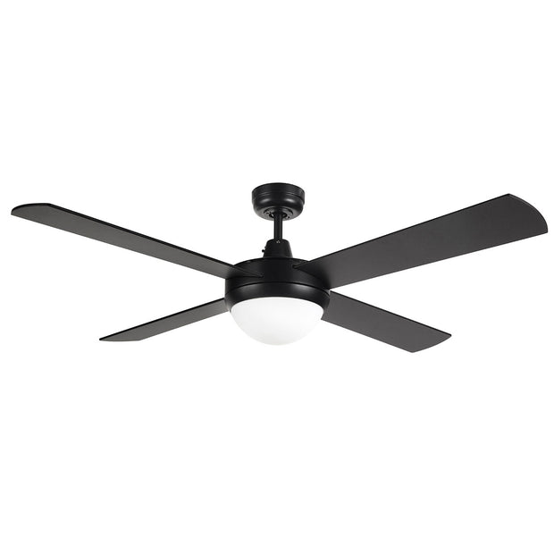 "Contemporary 52"" Black Ceiling Fan With Light"