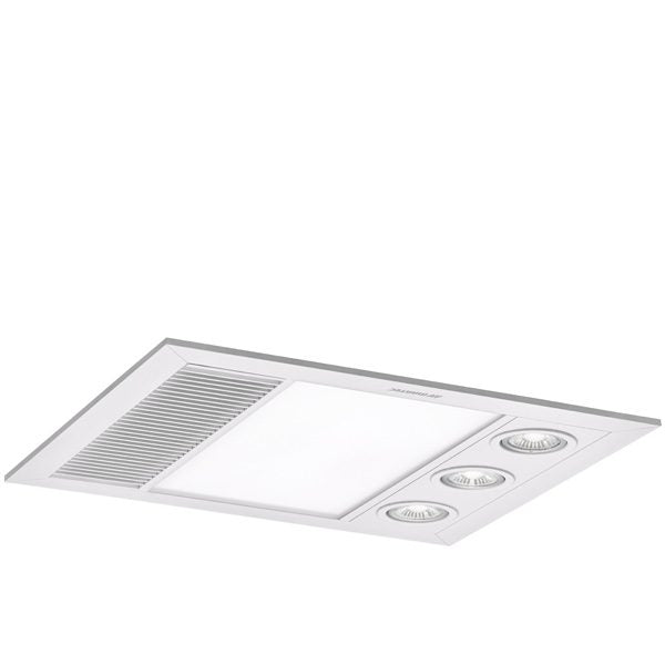 Linear Mini 3 in 1 Bathroom Heater with Exhaust Fan and LED Lights - Silver