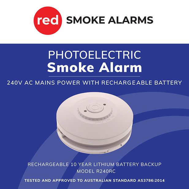 R240RC Photoelectric Recharagable 9v 10 Year Battery 240v Smoke Alarm