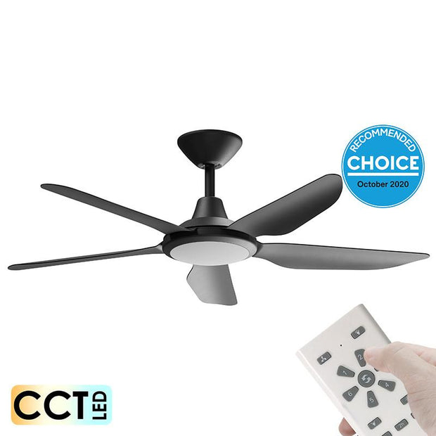 Storm DC 52 Ceiling Fan Black - with LED Light