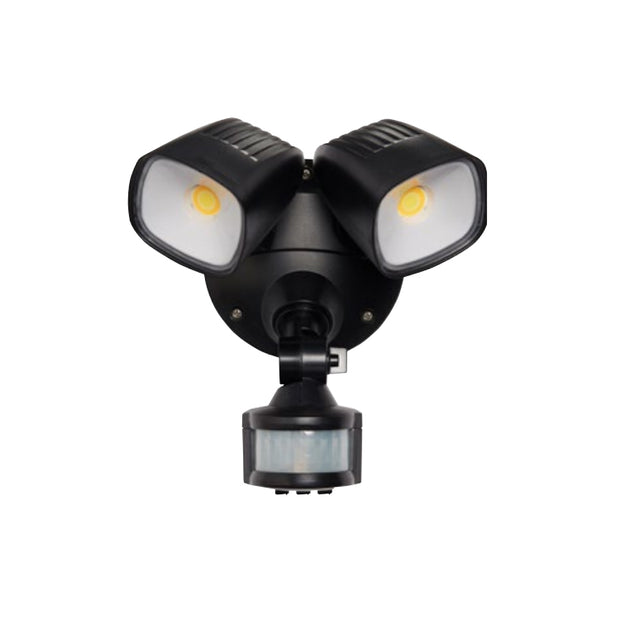Ranger - 2x 12W Tri Colour LED Flood Light with Sensor Polycarb - Black