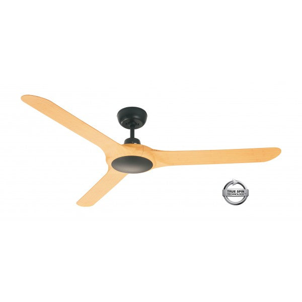 "Spyda 62"" ABS 3 Blade Ceiling Fan - Black with Bamboo"