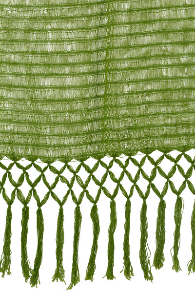 Green Cotton Hand Loomed Scarf