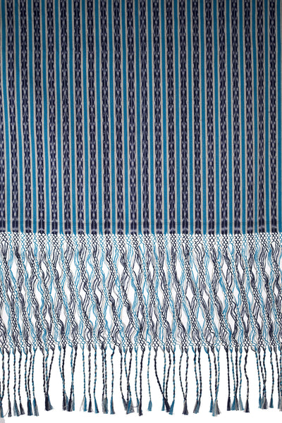 Blue, White & Indigo Medium Shawl