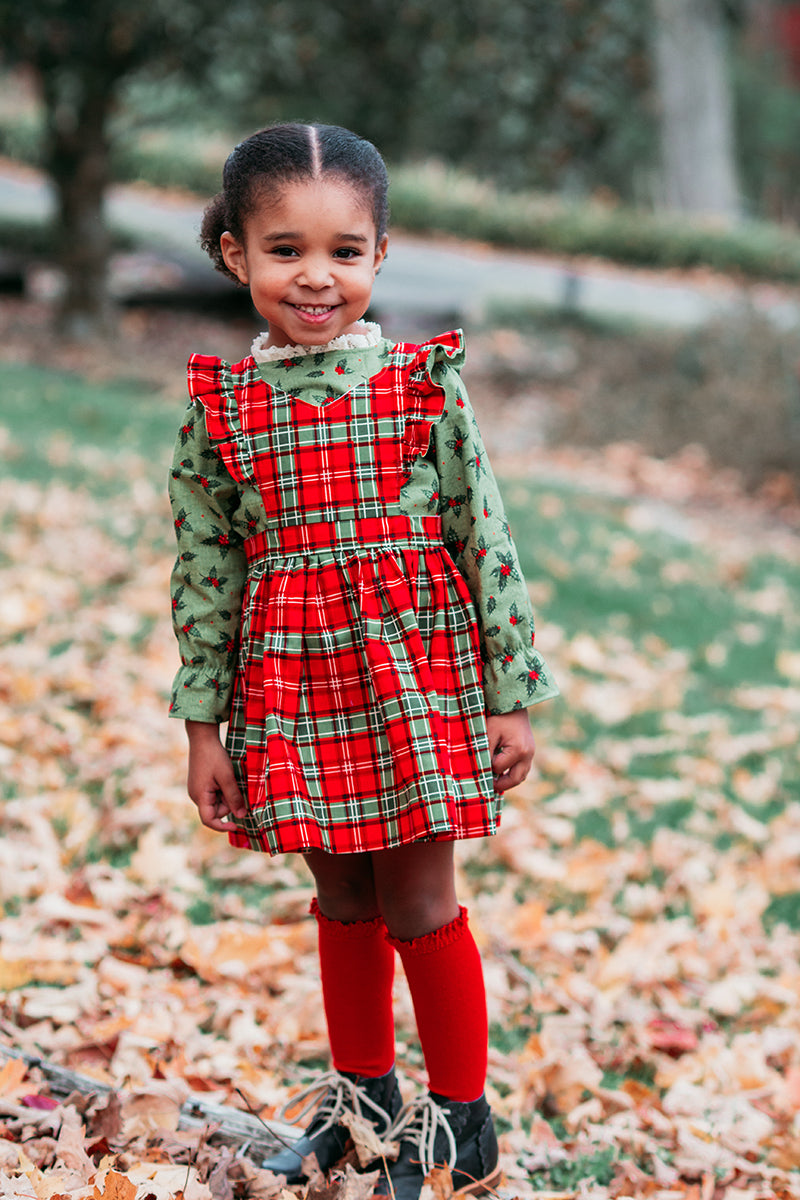 Astoria Blouse & Pinafore in Christmas Memories from Riley Blake