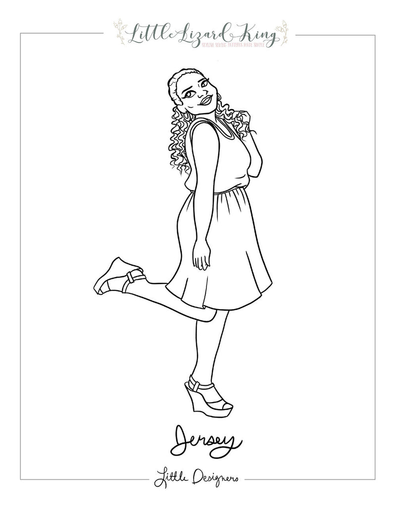 Women's Jersey Dress and Romper Coloring Page