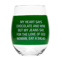 My Heart Says Chocolate Wine Glass - Lyla's: Clothing, Decor & More - Plano Boutique